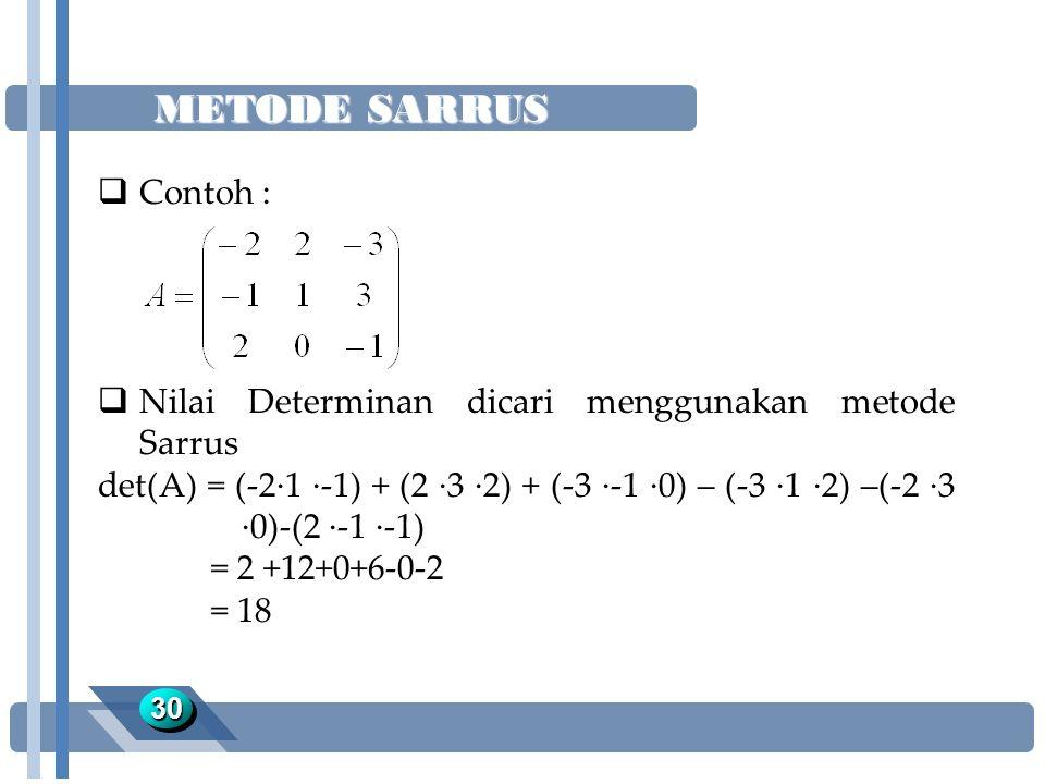 METODE SARRUS 3030  Contoh :  Nilai Determinan dicari menggunakan metode Sarrus det(A) = (-2·1 ·-1) + (2 ·3 ·2) + (-3 ·-1 ·0) – (-3 ·1 ·2) –(-2 ·3 ·