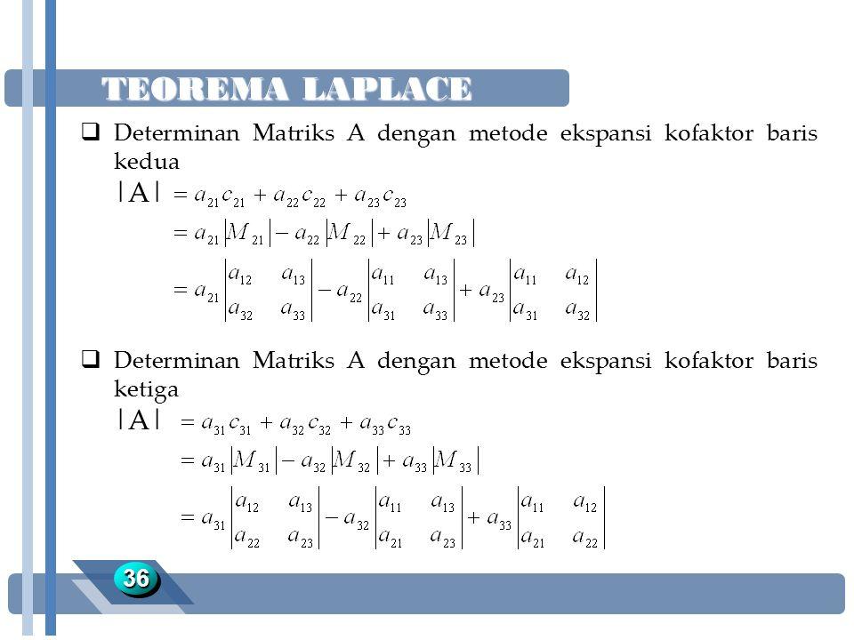 TEOREMA LAPLACE 3636  Determinan Matriks A dengan metode ekspansi kofaktor baris kedua |A|  Determinan Matriks A dengan metode ekspansi kofaktor bar