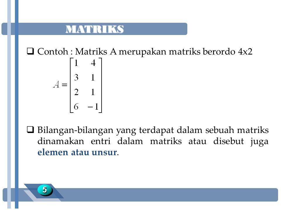 MATRIKS 55  Contoh : Matriks A merupakan matriks berordo 4x2  Bilangan-bilangan yang terdapat dalam sebuah matriks dinamakan entri dalam matriks ata
