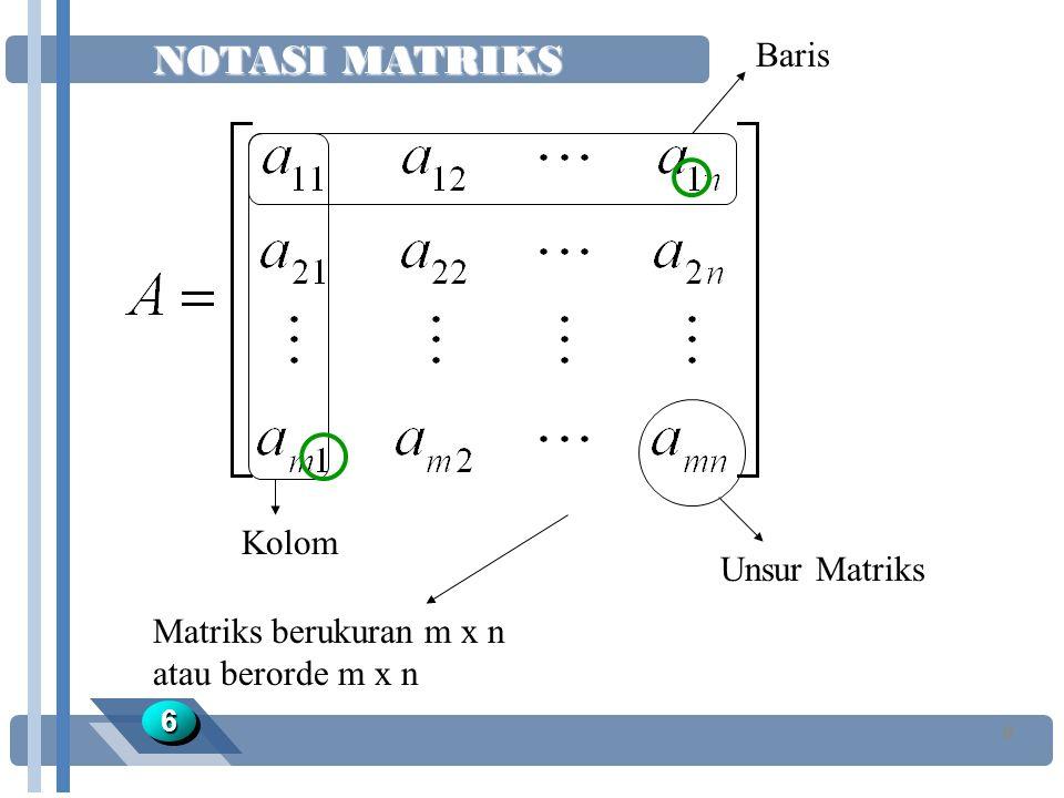 NOTASI MATRIKS 66 6 Baris Kolom Unsur Matriks Matriks berukuran m x n atau berorde m x n