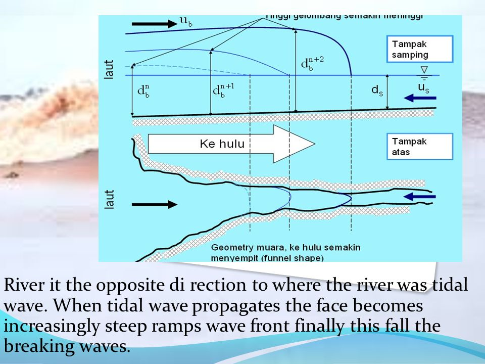 River it the opposite di rection to where the river was tidal wave. When tidal wave propagates the face becomes increasingly steep ramps wave front fi