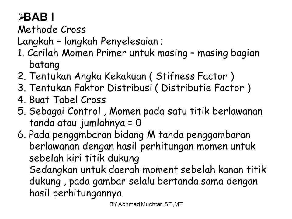 BY Achmad Muchtar.ST.,MT  BAB I Methode Cross Langkah – langkah Penyelesaian ; 1.