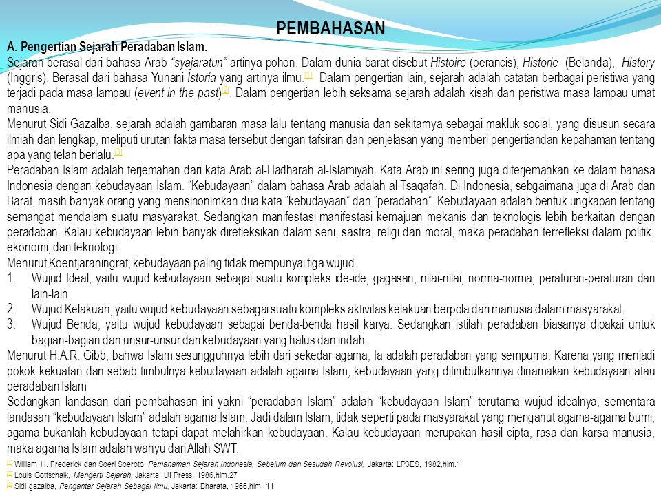 PEMBAHASAN A. Pengertian Sejarah Peradaban Islam.