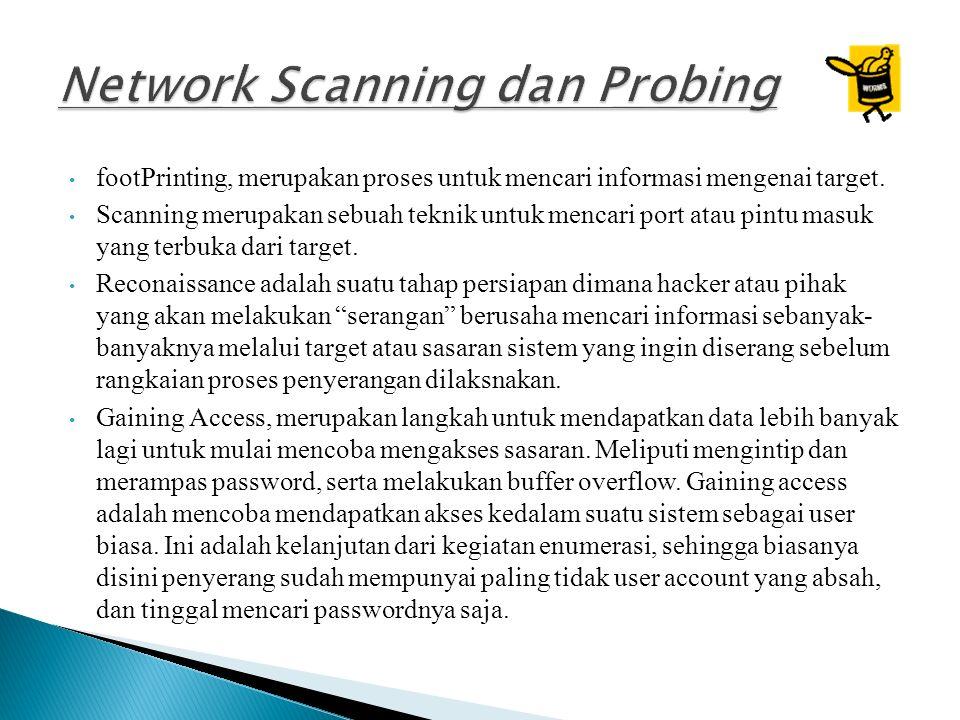 footPrinting, merupakan proses untuk mencari informasi mengenai target.