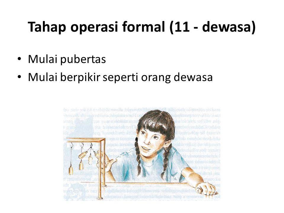 Tahap operasi formal (11 - dewasa) Mulai pubertas Mulai berpikir seperti orang dewasa