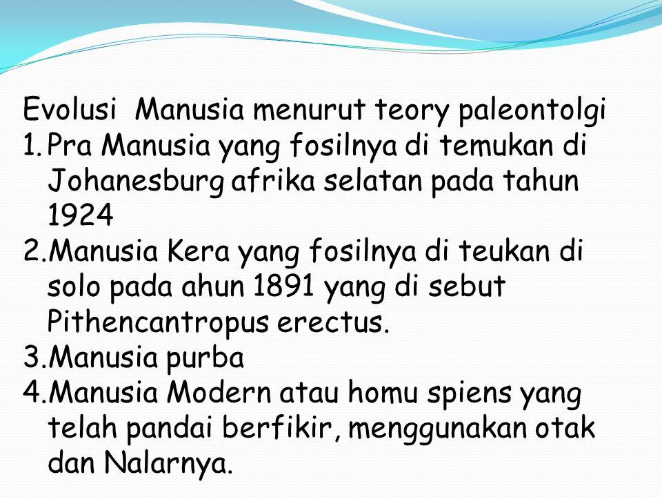 Evolusi Manusia menurut teory paleontolgi 1.Pra Manusia yang fosilnya di temukan di Johanesburg afrika selatan pada tahun 1924 2.Manusia Kera yang fosilnya di teukan di solo pada ahun 1891 yang di sebut Pithencantropus erectus.