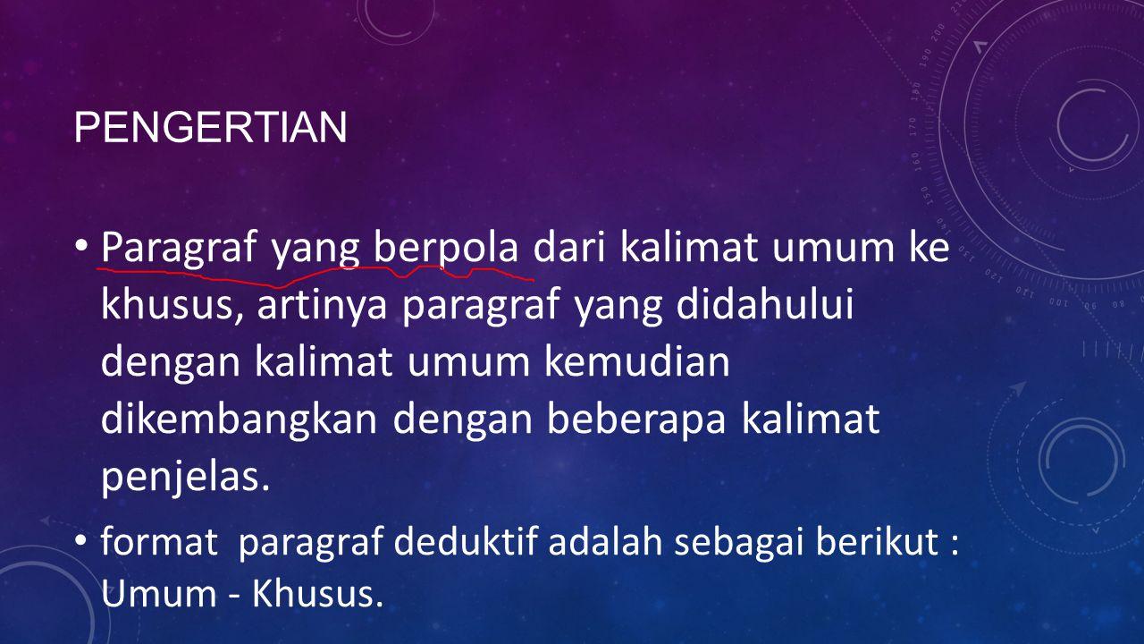 CIRI-CIRI PARAGRAF DEDUKTIF Kalimat utama terletak di awal paragraf Kalimat utama disusun dari pernyataan umum yang kemudian disusul dengan penjelasan