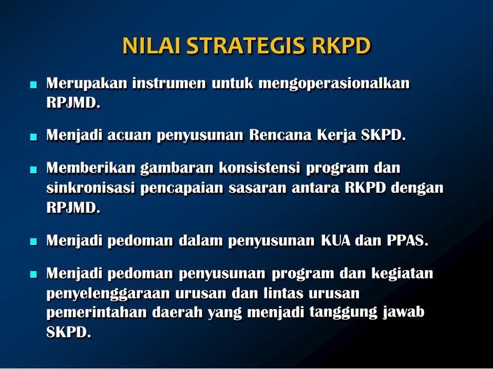 NILAI STRATEGIS RKPD Merupakan instrumen untuk mengoperasionalkan RPJMD.
