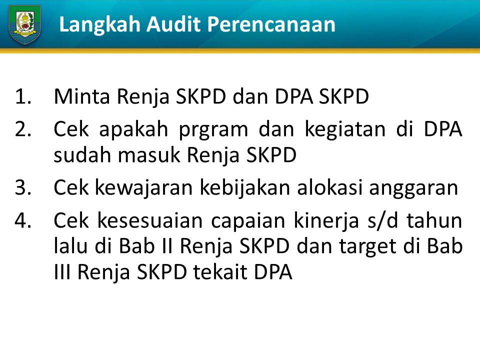 1.Minta Renja SKPD dan DPA SKPD 2.Cek apakah prgram dan kegiatan di DPA sudah masuk Renja SKPD 3.Cek kewajaran kebijakan alokasi anggaran 4.Cek kesesuaian capaian kinerja s/d tahun lalu di Bab II Renja SKPD dan target di Bab III Renja SKPD tekait DPA Langkah Audit Perencanaan