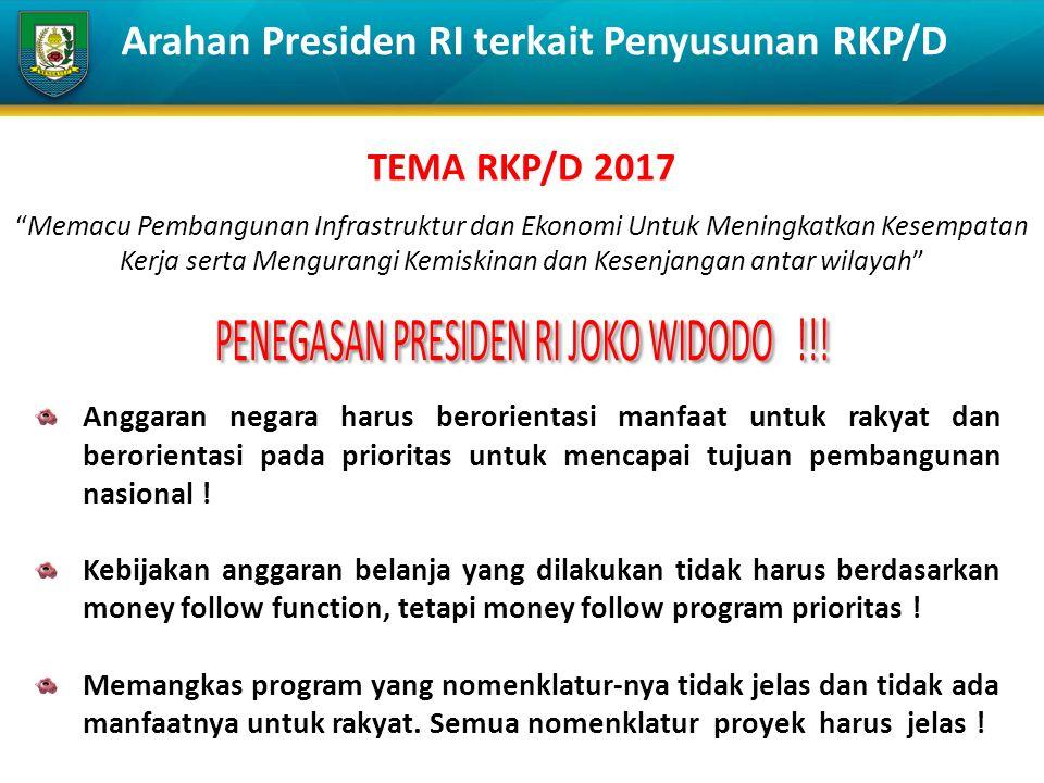 Arahan Presiden RI terkait Penyusunan RKP/D TEMA RKP/D 2017 Memacu Pembangunan Infrastruktur dan Ekonomi Untuk Meningkatkan Kesempatan Kerja serta Mengurangi Kemiskinan dan Kesenjangan antar wilayah Anggaran negara harus berorientasi manfaat untuk rakyat dan berorientasi pada prioritas untuk mencapai tujuan pembangunan nasional .