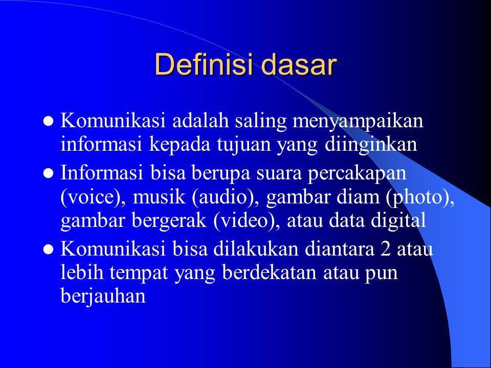 Definisi dasar Komunikasi adalah saling menyampaikan informasi kepada tujuan yang diinginkan Informasi bisa berupa suara percakapan (voice), musik (audio), gambar diam (photo), gambar bergerak (video), atau data digital Komunikasi bisa dilakukan diantara 2 atau lebih tempat yang berdekatan atau pun berjauhan