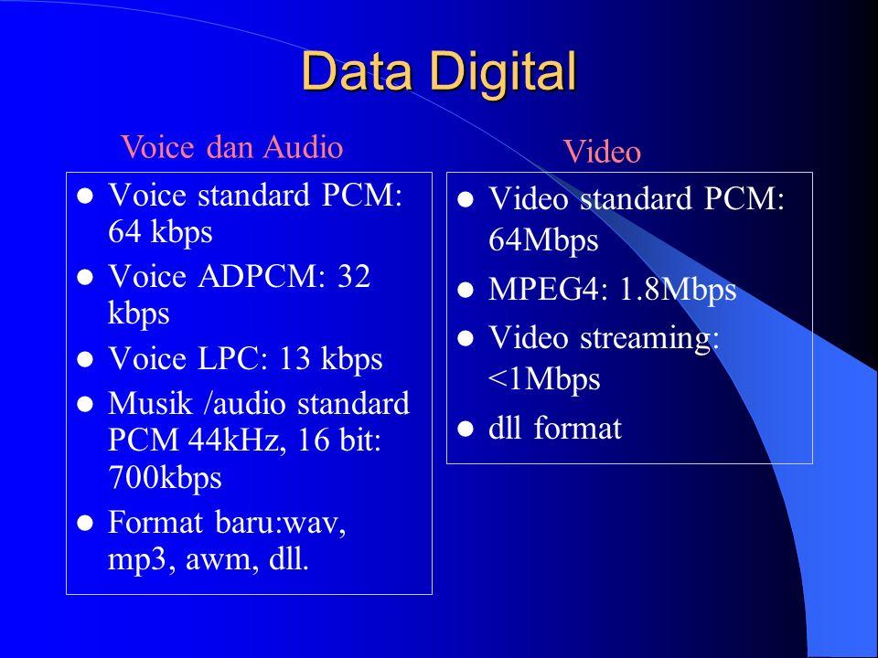 Data Digital Voice standard PCM: 64 kbps Voice ADPCM: 32 kbps Voice LPC: 13 kbps Musik /audio standard PCM 44kHz, 16 bit: 700kbps Format baru:wav, mp3, awm, dll.