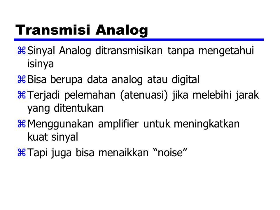 Transmisi Analog zSinyal Analog ditransmisikan tanpa mengetahui isinya zBisa berupa data analog atau digital zTerjadi pelemahan (atenuasi) jika melebihi jarak yang ditentukan zMenggunakan amplifier untuk meningkatkan kuat sinyal zTapi juga bisa menaikkan noise