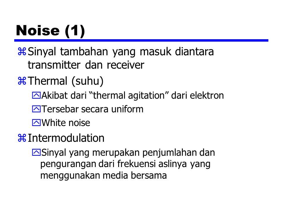 Noise (1) zSinyal tambahan yang masuk diantara transmitter dan receiver zThermal (suhu) yAkibat dari thermal agitation dari elektron yTersebar secara uniform yWhite noise zIntermodulation ySinyal yang merupakan penjumlahan dan pengurangan dari frekuensi aslinya yang menggunakan media bersama