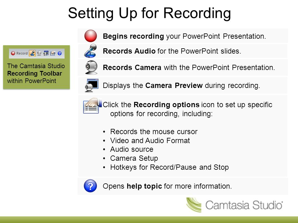 During Recording 1.Click record to launch the Slideshow.