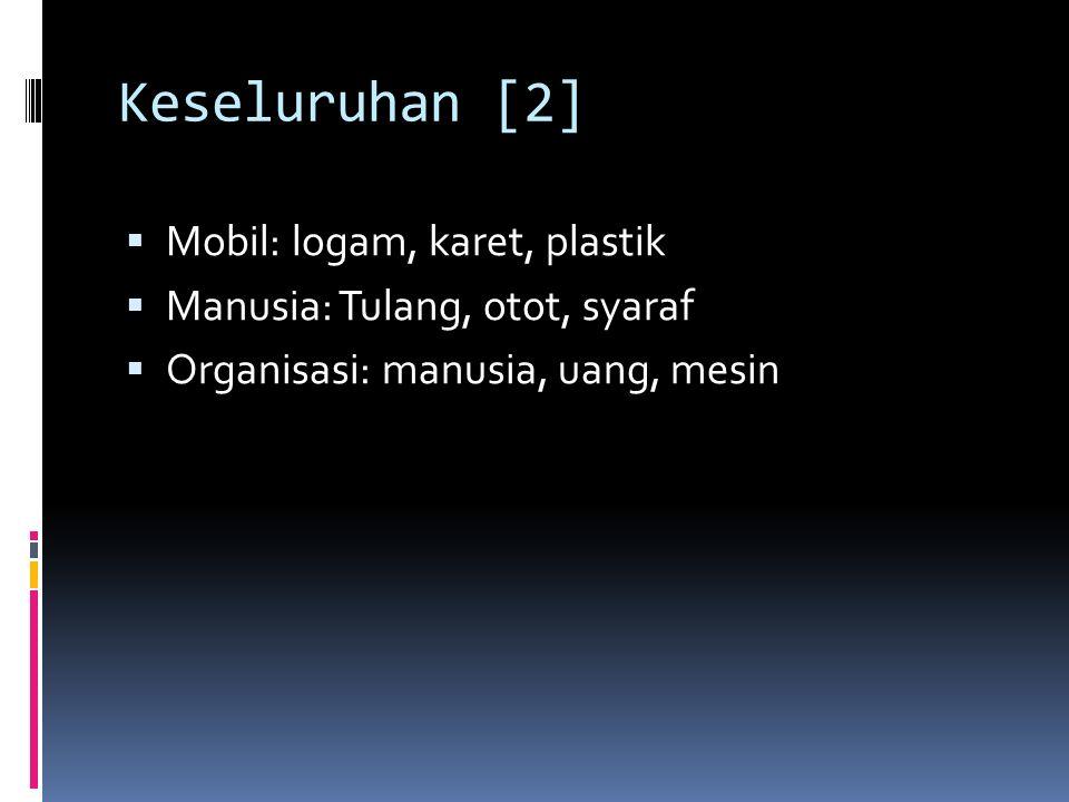 Keseluruhan [2]  Mobil: logam, karet, plastik  Manusia: Tulang, otot, syaraf  Organisasi: manusia, uang, mesin