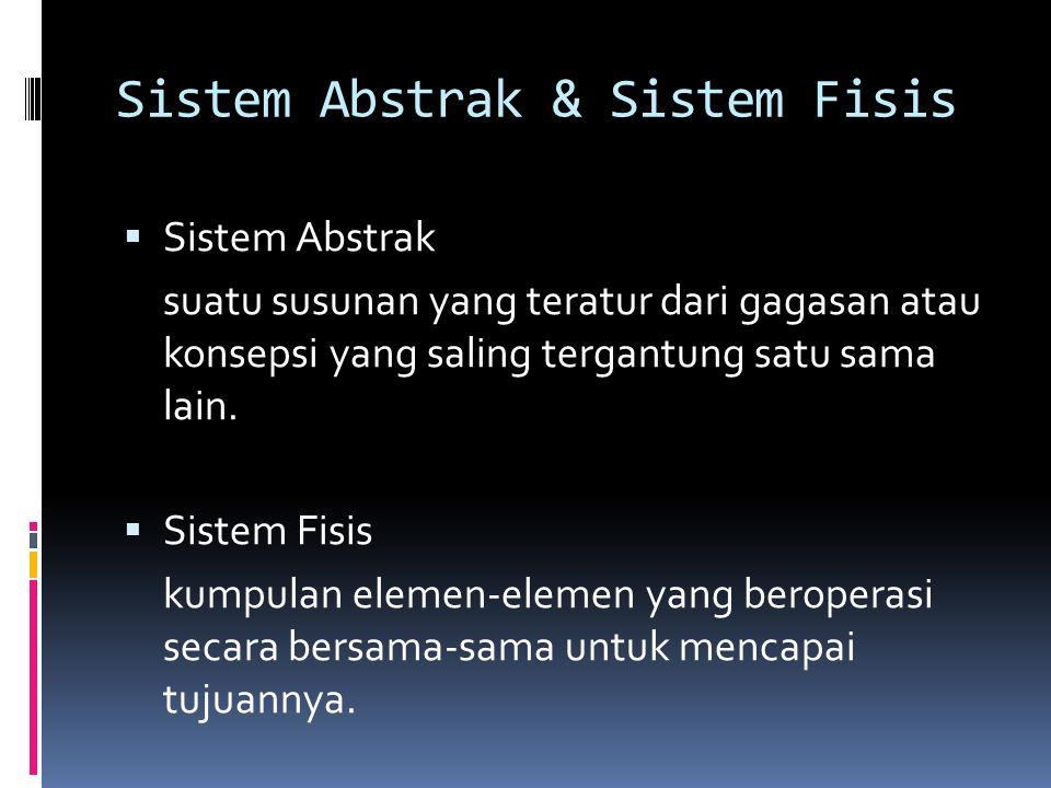 Sistem Abstrak & Sistem Fisis  Sistem Abstrak suatu susunan yang teratur dari gagasan atau konsepsi yang saling tergantung satu sama lain.