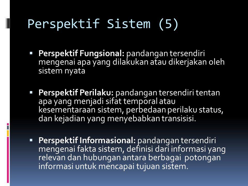Perspektif Sistem (5)  Perspektif Fungsional: pandangan tersendiri mengenai apa yang dilakukan atau dikerjakan oleh sistem nyata  Perspektif Perilaku: pandangan tersendiri tentan apa yang menjadi sifat temporal atau kesementaraan sistem, perbedaan perilaku status, dan kejadian yang menyebabkan transisisi.