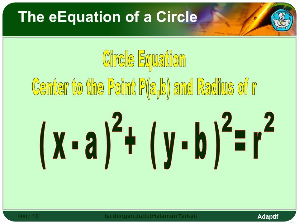 Adaptif Hal.: 9 Isi dengan Judul Halaman Terkait P (a,b ) r T (x,y) PT = r (x- a) + (y-b) = r 2 22 ( x 2 - x 1 ) + ( y 2 - y 1 ) = r 22 ( x - a ) + (