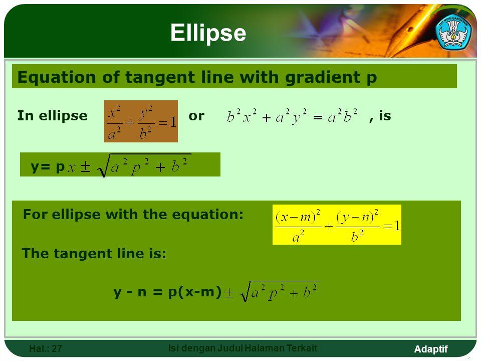 Adaptif Hal.: 26 Isi dengan Judul Halaman Terkait Elips Persamaan garis singgung dengan gradien p Pada elips atau,adalah y= p Untuk elips dengan persa
