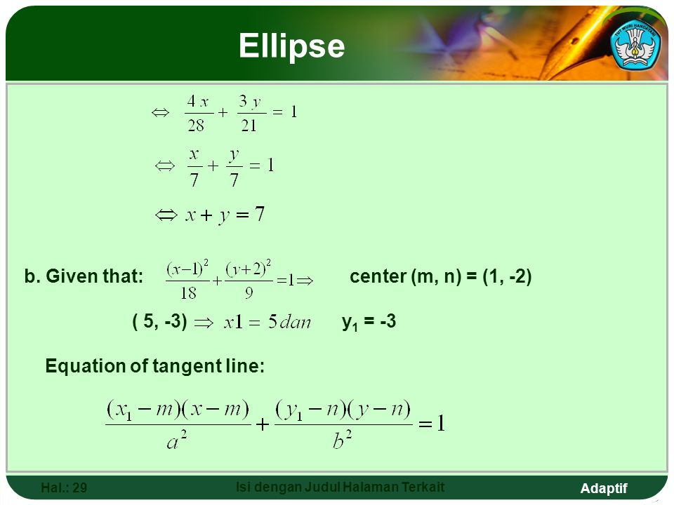 Adaptif Hal.: 28 Isi dengan Judul Halaman Terkait Ellipse Example: Determine the tangent line equation of this ellipse. a. At point (4, 3) b. At point