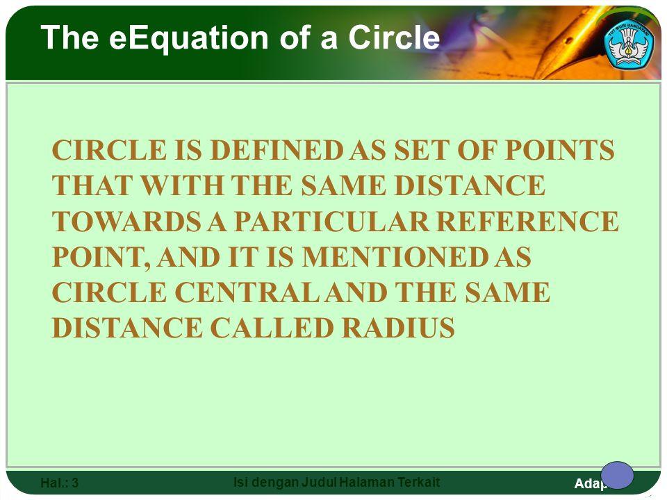 Adaptif Hal.: 2 Isi dengan Judul Halaman Terkait The eEquation of a Circle