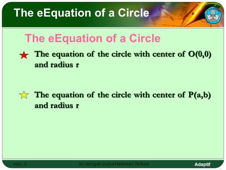 Adaptif Hal.: 4 Isi dengan Judul Halaman Terkait o r The eEquation of a Circle