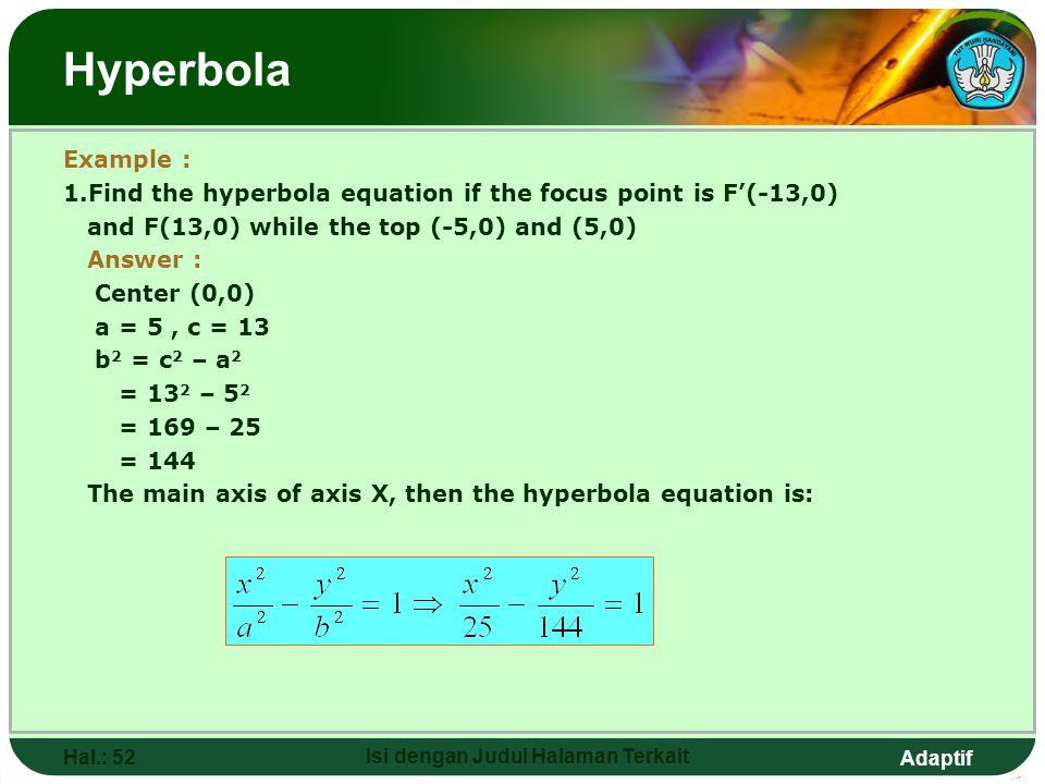 Adaptif Hal.: 51 Isi dengan Judul Halaman Terkait Hyperbola x y 0 Y = B A F(0,C) F'(0,-C) B. Hyperbola Equation N a. Center O(0,0) b. Focus F'(0,-C) a