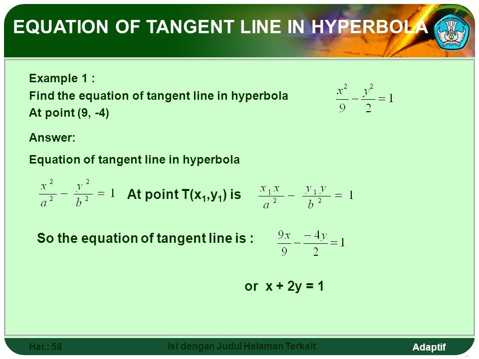 Adaptif Hal.: 57 Isi dengan Judul Halaman Terkait Equation of Tangent Line in Hyperbola Equation of tangent line in hyperbola through T(x 1,y 1 ) Equa