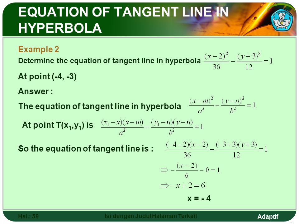Adaptif Hal.: 58 Isi dengan Judul Halaman Terkait Example 1 : Find the equation of tangent line in hyperbola At point (9, -4) EQUATION OF TANGENT LINE
