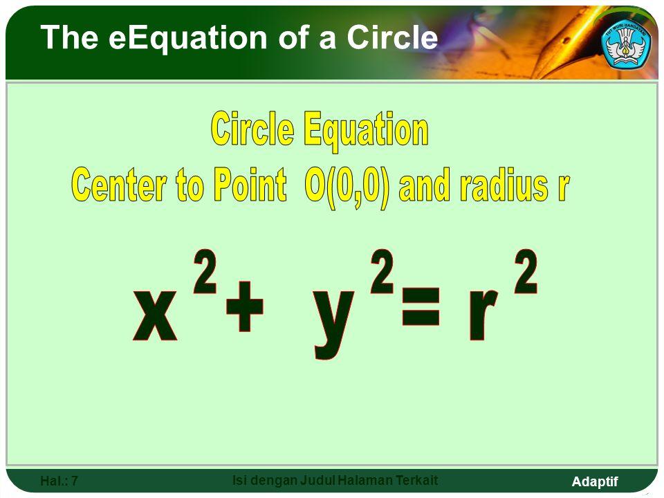 Adaptif Hal.: 6 Isi dengan Judul Halaman Terkait o r T (x,y) OT = r x + y = r 222 ( x 2 - x 1 ) + ( y 2 - y 1 ) = r 22 ( x - 0 ) + ( y - 0 ) = r 22 X