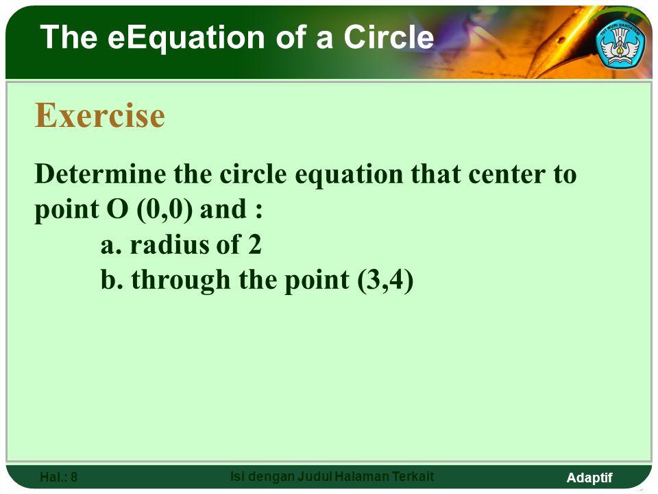 Adaptif Hal.: 7 Isi dengan Judul Halaman Terkait The eEquation of a Circle