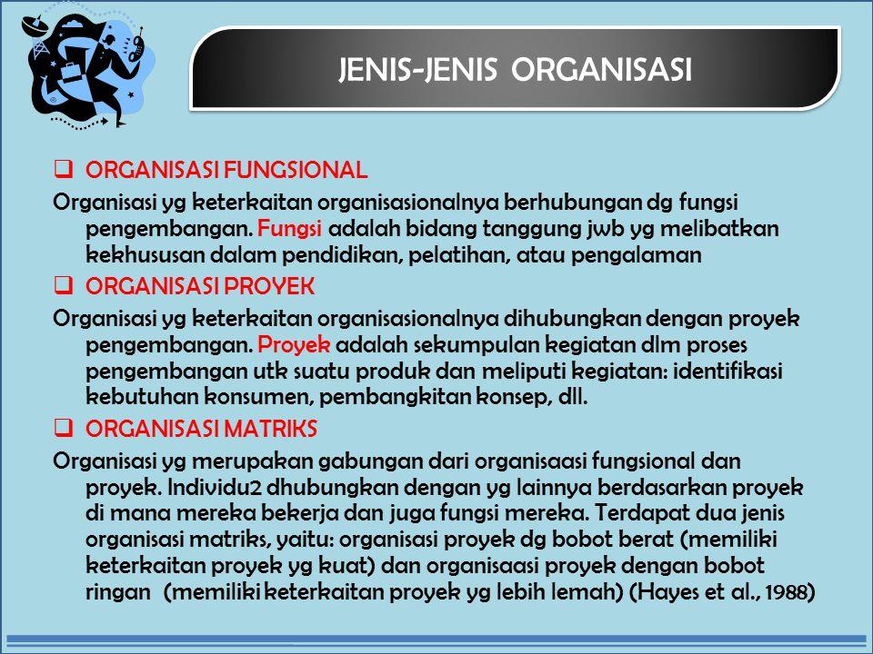 JENIS-JENIS ORGANISASI  ORGANISASI FUNGSIONAL Organisasi yg keterkaitan organisasionalnya berhubungan dg fungsi pengembangan.
