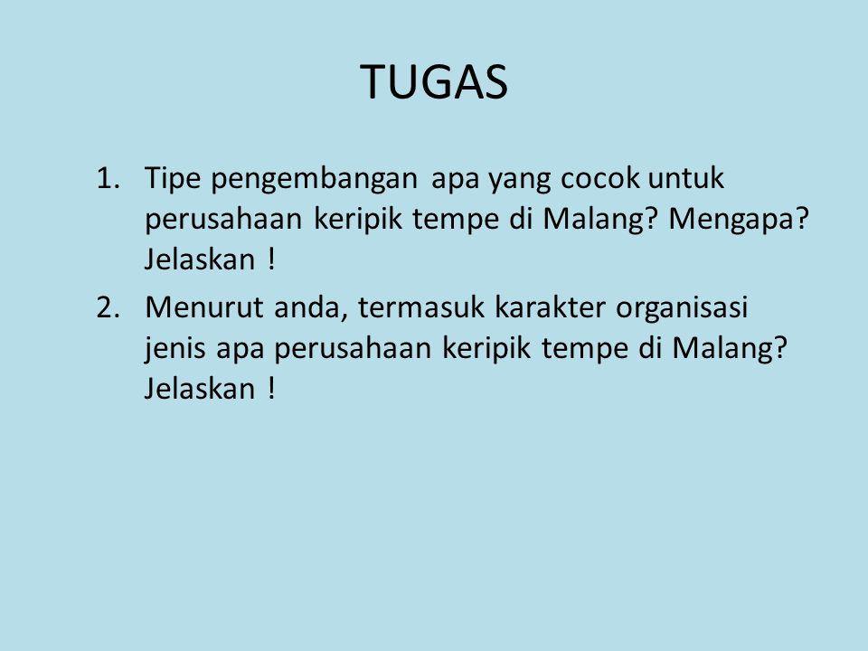 TUGAS 1.Tipe pengembangan apa yang cocok untuk perusahaan keripik tempe di Malang? Mengapa? Jelaskan ! 2.Menurut anda, termasuk karakter organisasi je