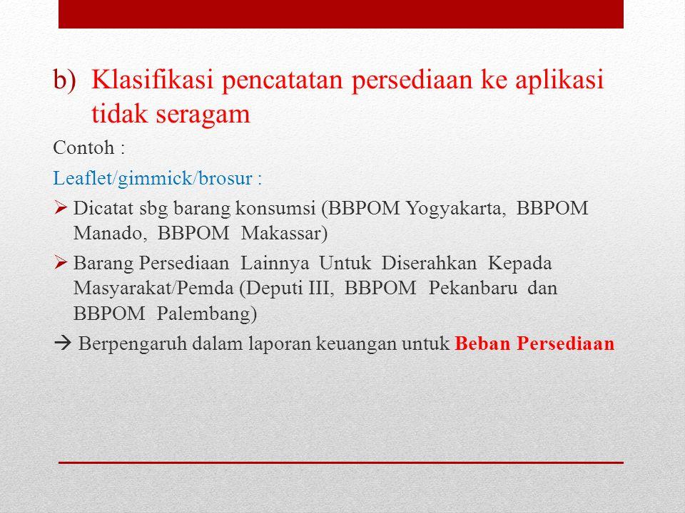 c)Pelaksanaan, perhitungan dan pelaporan hasil Stock Opname per 31 Desember 2015 belum tepat : Inventarisasi alat gelas stock opname tidak dapat mengidentifikasi alat gelas yang sebelumnya tidak dilaporkan Pencatatan arsip sampel secara manual tidak direkonsiliasi dengan pencatatan aplikasi persediaan pada BBPOM di Jakarta  pencatatan berdasarkan SIPT bukan kuantitas riil Hasil stock opname alat gelas di laboratorium dan Pos POM pada BBPOM di Manado tidak diinput ke aplikasi persediaan Tidak dilakukan stock opname atas persediaan leaflet/booklet pada BBPOM di Makassar