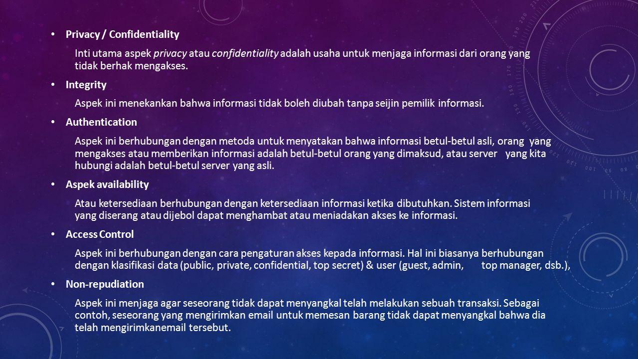 Privacy / Confidentiality Inti utama aspek privacy atau confidentiality adalah usaha untuk menjaga informasi dari orang yang tidak berhak mengakses.