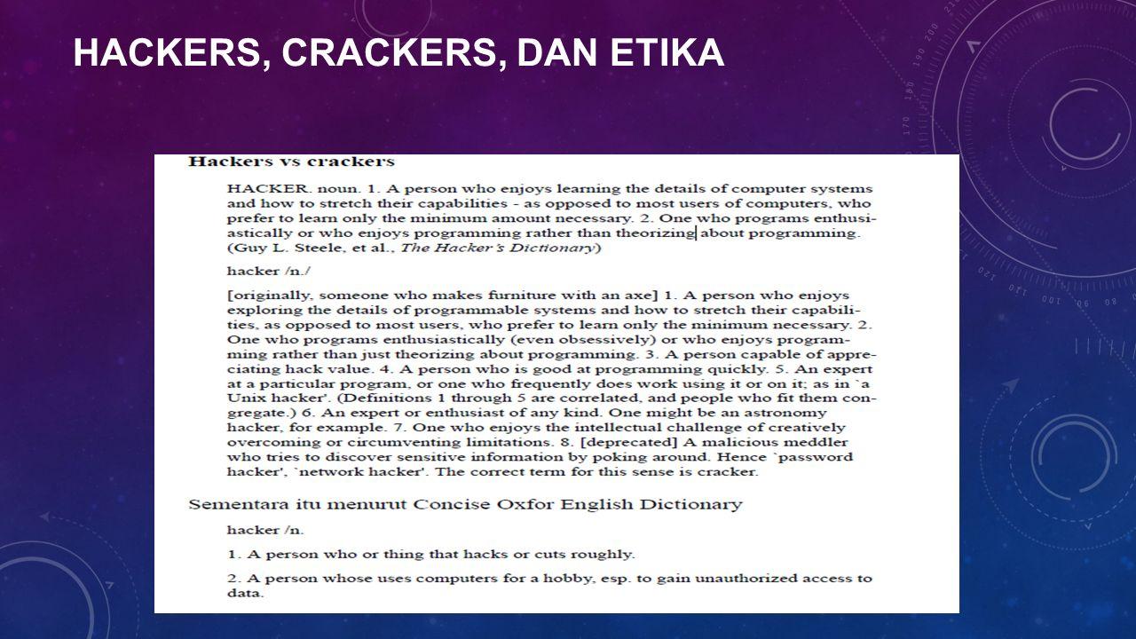 HACKERS, CRACKERS, DAN ETIKA