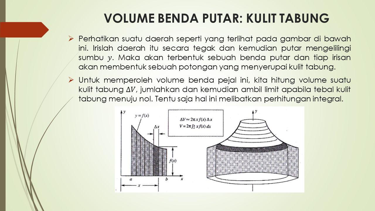 VOLUME BENDA PUTAR: KULIT TABUNG Penyelesaian: (c)