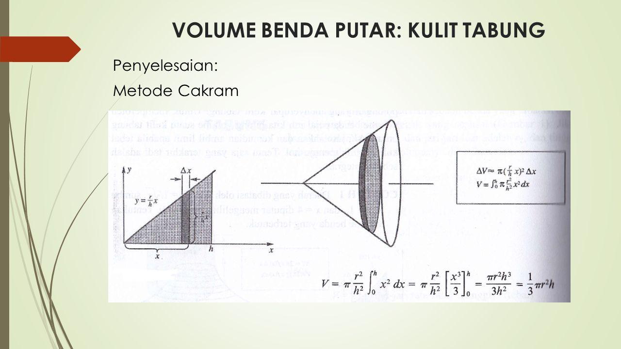 VOLUME BENDA PUTAR: KULIT TABUNG Metode Kulit Tabung
