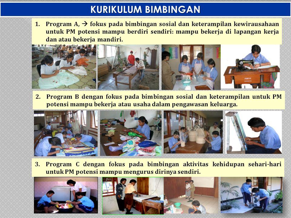3.Program C dengan fokus pada bimbingan aktivitas kehidupan sehari-hari untuk PM potensi mampu mengurus dirinya sendiri. KURIKULUM BIMBINGAN 1.Program