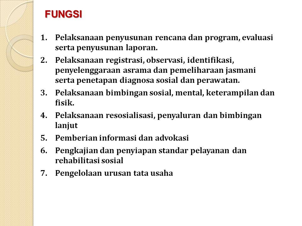 1.Pelaksanaan penyusunan rencana dan program, evaluasi serta penyusunan laporan. 2.Pelaksanaan registrasi, observasi, identifikasi, penyelenggaraan as