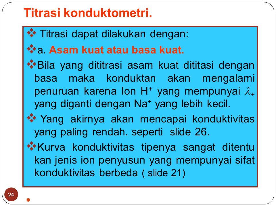 Titrasi konduktometri. 24  Titrasi dapat dilakukan dengan:  a.