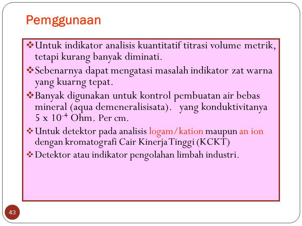 Pemggunaan 43  Untuk indikator analisis kuantitatif titrasi volume metrik, tetapi kurang banyak diminati.