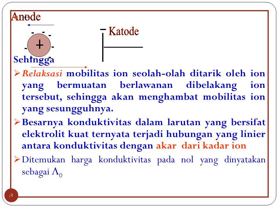 8 + Sehingga  Relaksasi mobilitas ion seolah-olah ditarik oleh ion yang bermuatan berlawanan dibelakang ion tersebut, sehingga akan menghambat mobilitas ion yang sesungguhnya.