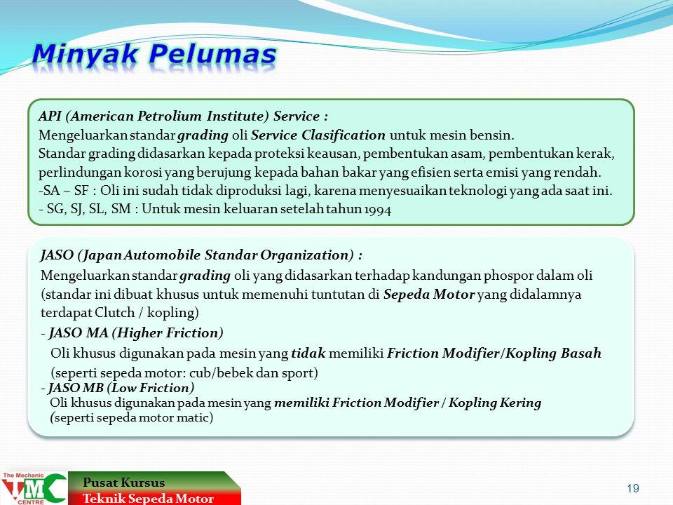 API (American Petrolium Institute) Service : Mengeluarkan standar grading oli Service Clasification untuk mesin bensin.