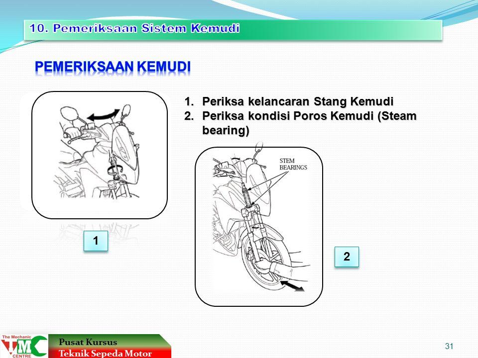 1.Periksa kelancaran Stang Kemudi 2.Periksa kondisi Poros Kemudi (Steam bearing) 1 1 2 2 Pusat Kursus Teknik Sepeda Motor 31