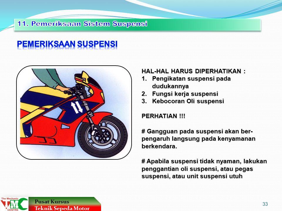 HAL-HAL HARUS DIPERHATIKAN : 1.Pengikatan suspensi pada dudukannya 2.Fungsi kerja suspensi 3.Kebocoran Oli suspensi PERHATIAN !!.