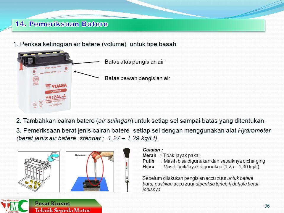 1. Periksa ketinggian air batere (volume) untuk tipe basah Batas atas pengisian air Batas bawah pengisian air 2. Tambahkan cairan batere (air sulingan