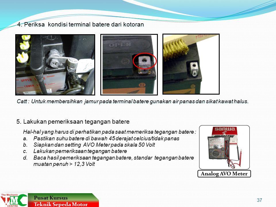 Catt : Untuk membersihkan jamur pada terminal batere gunakan air panas dan sikat kawat halus.