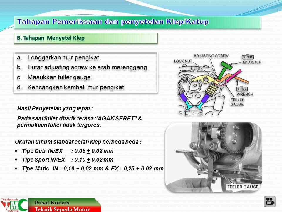 Pusat Kursus Teknik Sepeda Motor 30 Penjelasan kode yang terdapat pada ban luar : 2.75 – 17 – 41 P Kode batas Kecepatan (Km/Jam) Kode batas Beban (Kg) Lebar telapak Ban (inchi) Diameter Velg (inchi) 80 / 90 – 17 M/C – 44 P Kode batas Kecepatan (Km/Jam) Kode batas Beban (Kg) Motor Cycle (Sepeda Motor) Lebar telapak Ban (mm) Diameter Velg (inchi) % Tinggi dari Lebar T = 90% x 80 : 72 mm